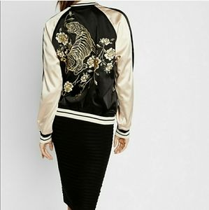 Express Tiger Embroidery Black Satin Bomber Jacket